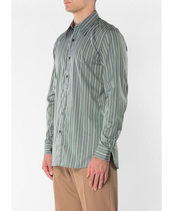 Chemise à Rayures en Coton Verte Pâle