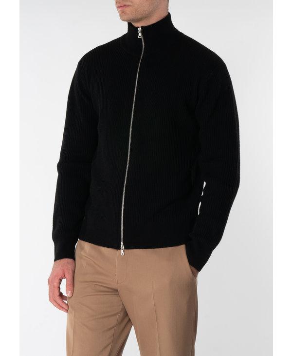 Black Alpaca Wool Mock Neck Zip Sweater