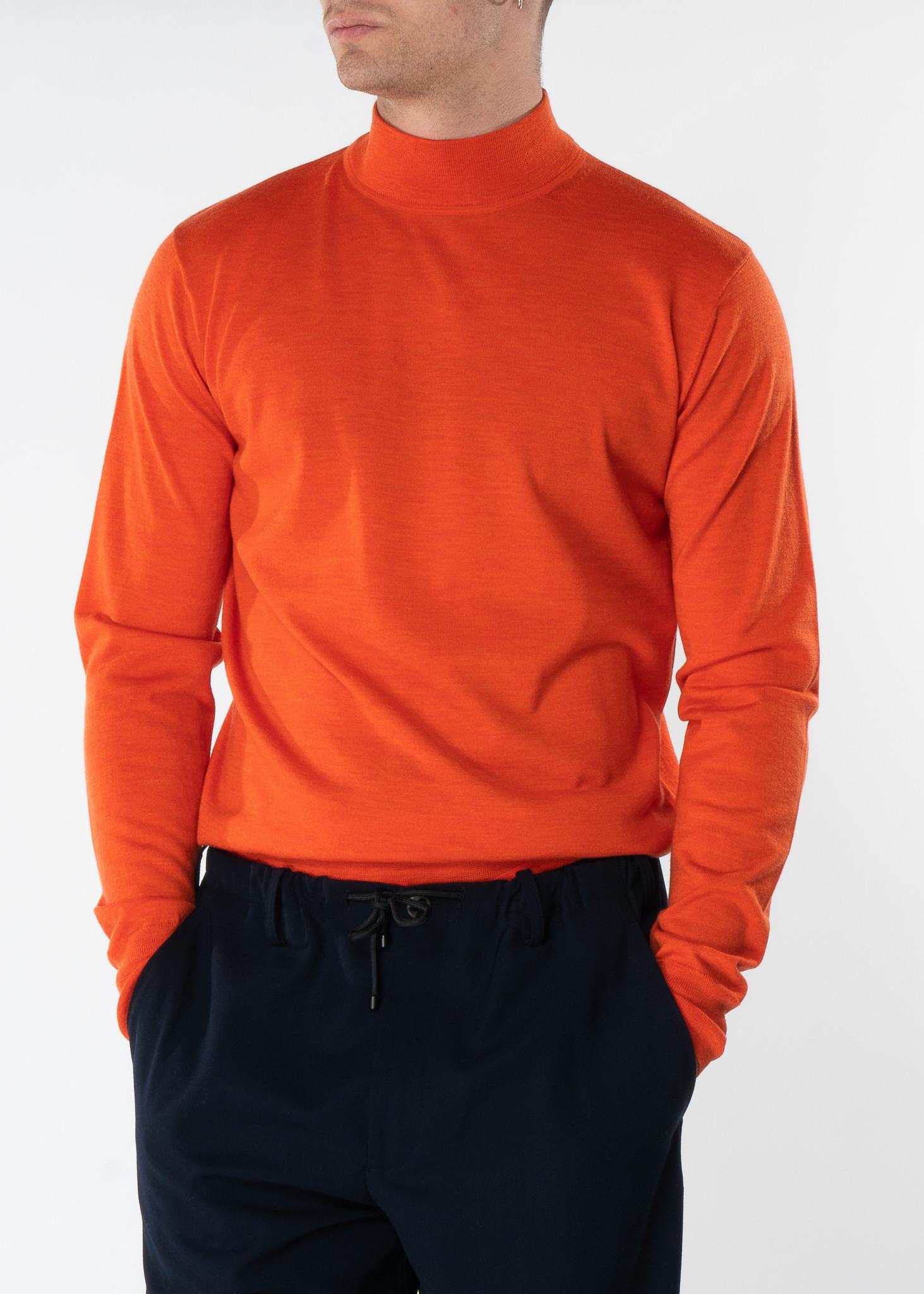 Orange Mock Neck Merino Sweater