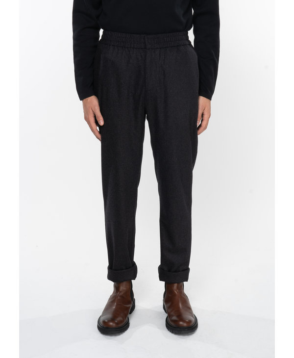 Charcoal Wool Cashemere Flannel Drawstring Trousers
