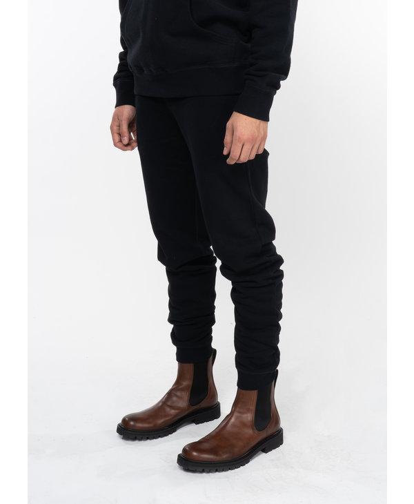 Black Cotton Loopback Sweatpants