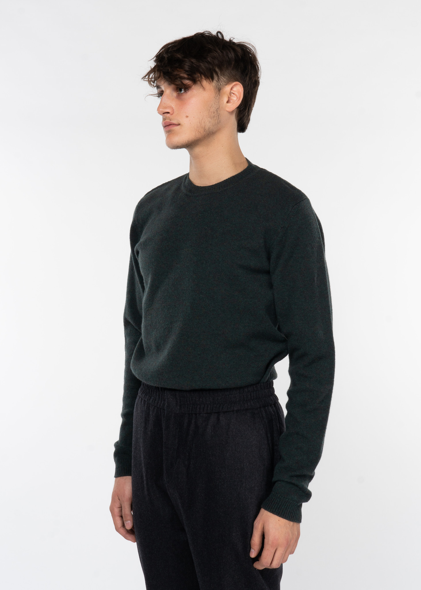 Forest Green Sigfred Lambswool Crew