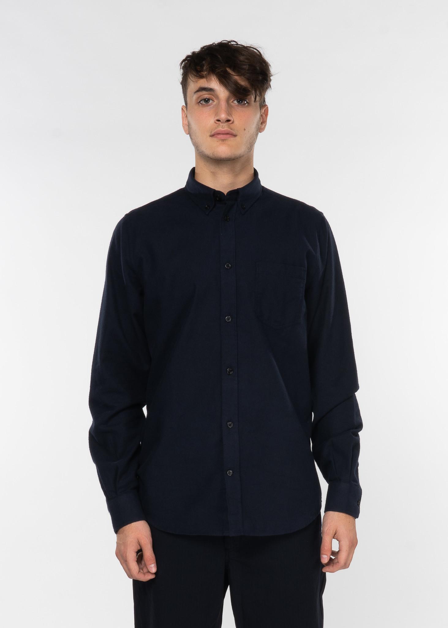 Navy Anton Brushed Flannel Shirt