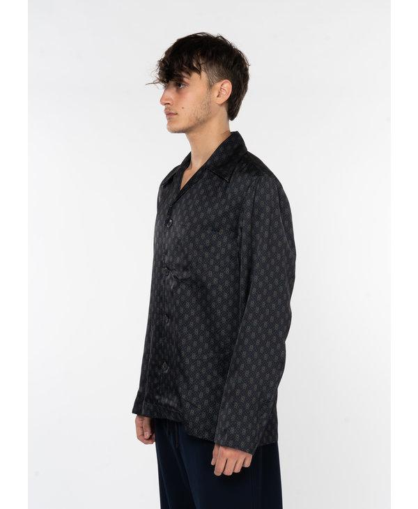 Chemise en Viscose à Motif Graphique Noir