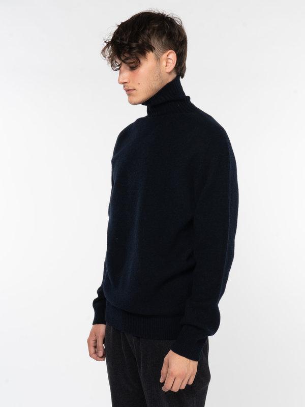 Sunspel Navy Lambswool Roll Neck Sweater
