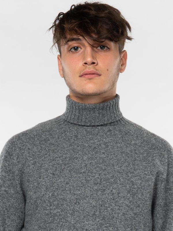 Sunspel Grey Lambswool Roll Neck Sweater