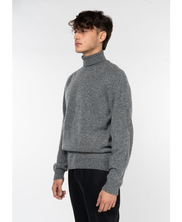 Grey Lambswool Roll Neck Sweater