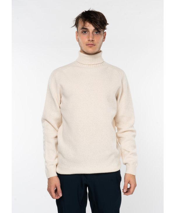 Ecru Lambswool Roll Neck Sweater