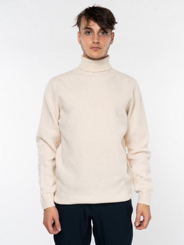 Sunspel Ecru Lambswool Roll Neck Sweater