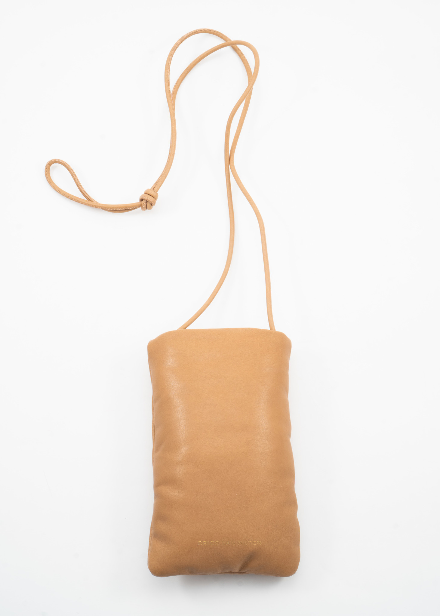 Beige Padded Leather Pouch with Lanyard
