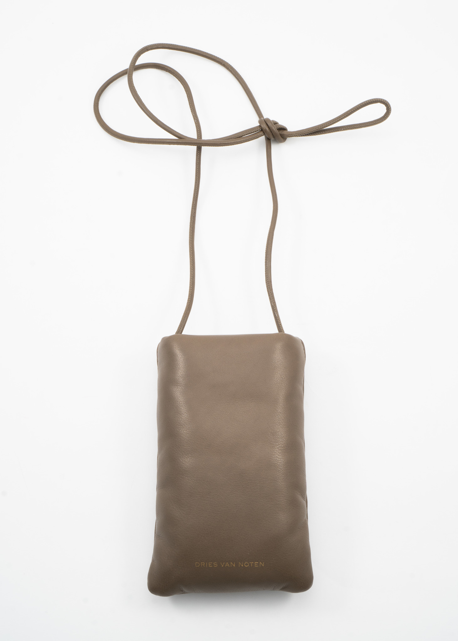 Green Padded Leather Pouch with Lanyard