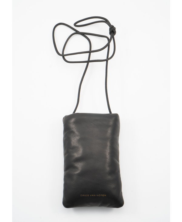 Black Padded Leather Pouch with Lanyard
