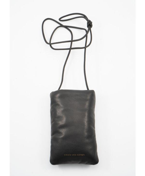 Pochette à Cordon Matelassée en cuir Noir
