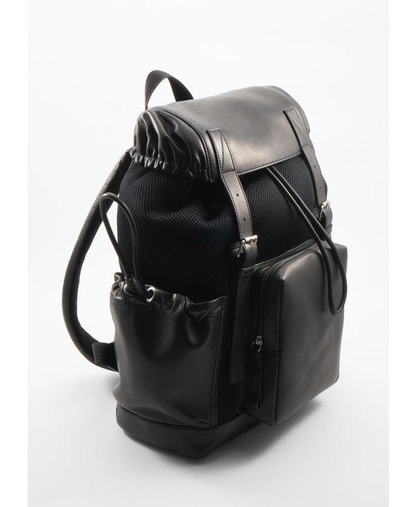 Black Leather & Mesh Backpack