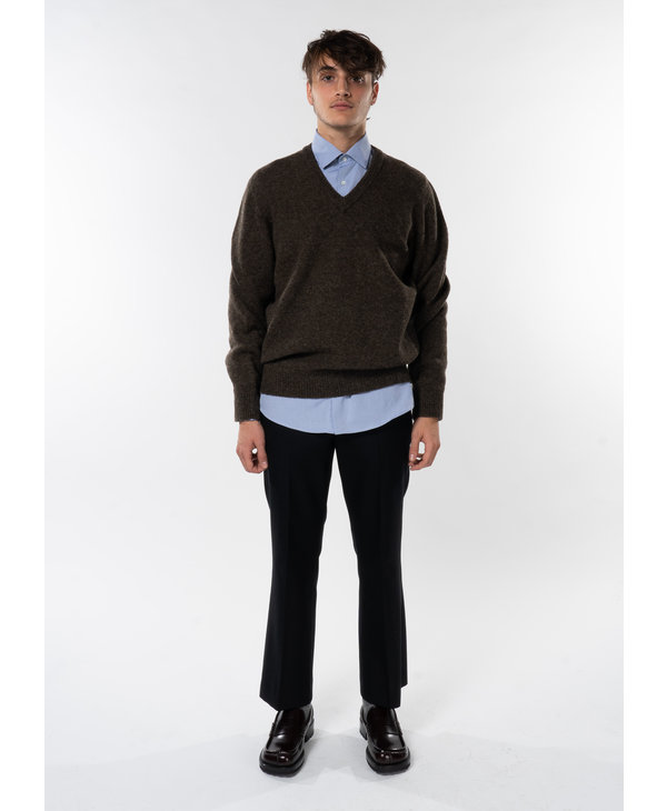 Brown Seamless V-Neck Sweater