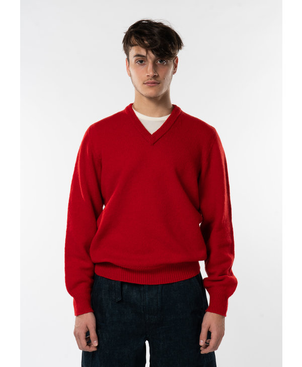 Red Seamless V-Neck Sweater