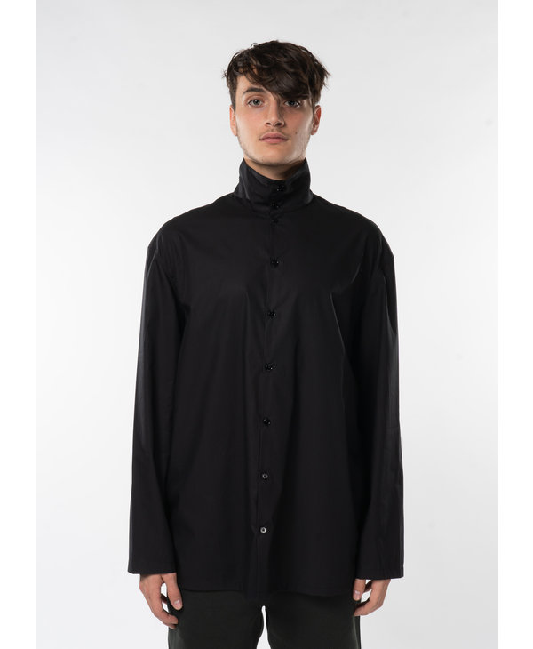 Chemise à Col Montant Noir