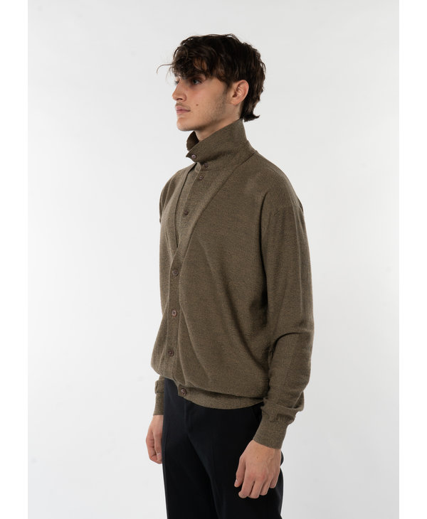 Brown Double Layer Cardigan