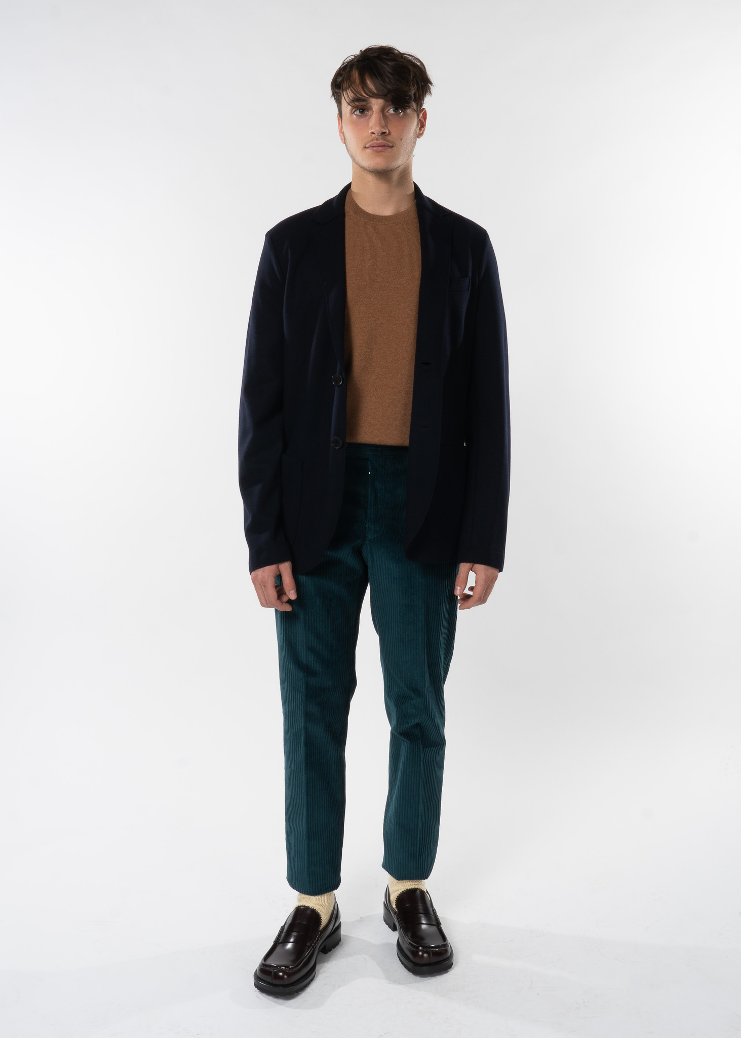 Navy Blue Merino Wool Blazer