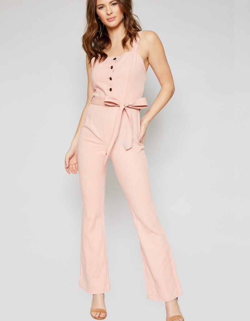 RADIATE POSITIVE VIBES DENIM JUMPSUIT