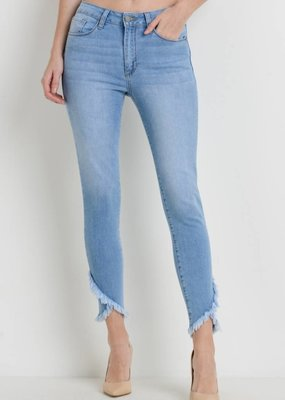 SKINNY CROSS OVER FRAYED HEM DENIM