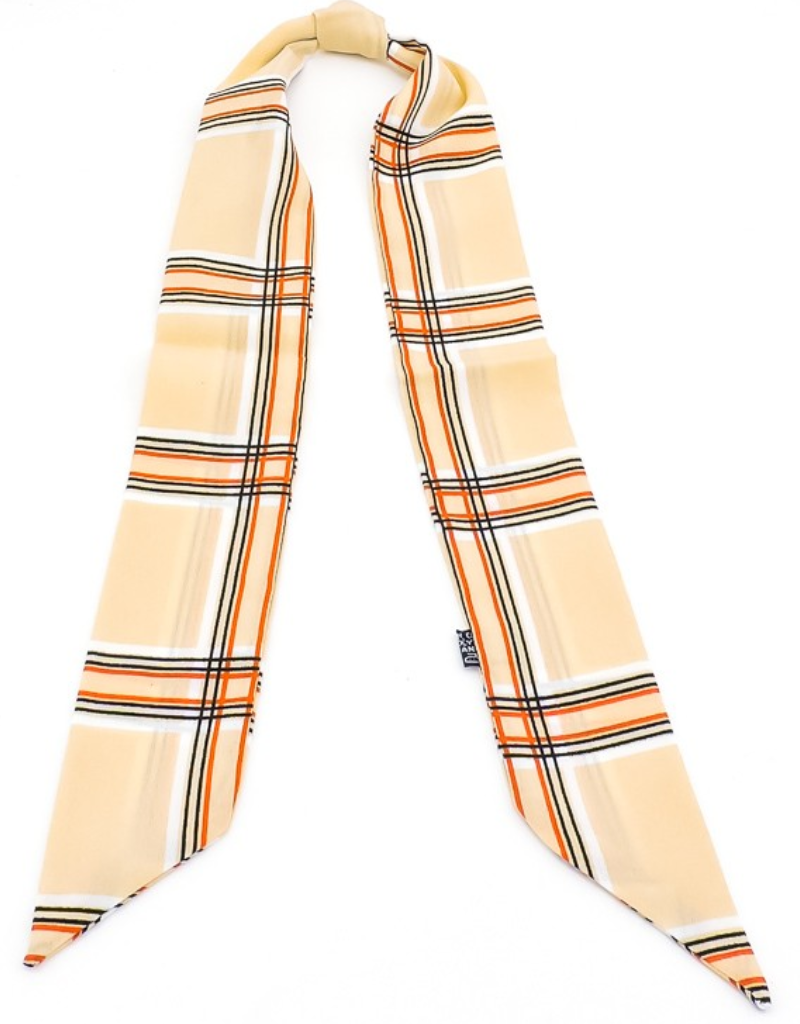 NINA NEUTRAL PLAID HAIR SCARF