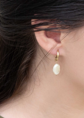 PEARLY HOOP EARRINGS-FINAL SALE ITEM