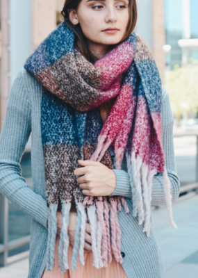 OVERSIZED COLORBLOCK TASSEL SCARF