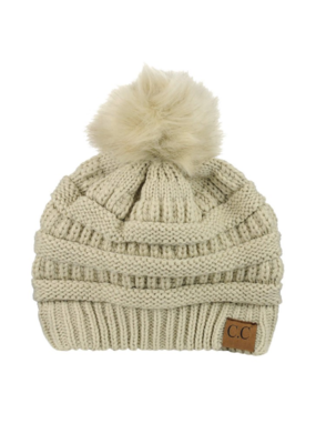 MATCHING FAUX FUR POM BEANIE-FINAL SALE ITEM