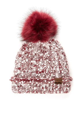 CONFETTI FAUX FUR POM BEANIE-FINAL SALE ITEM