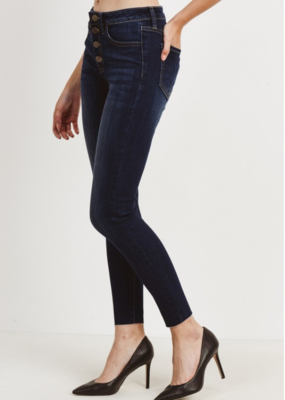 HIGH RISE BUTTON DOWN SKINNY DENIM
