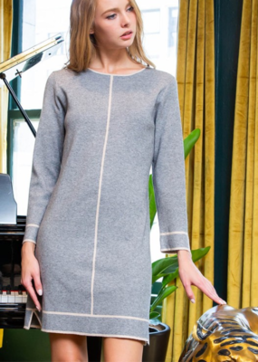 THINK OUTSIDE THE LINES SWEATER DRESS
