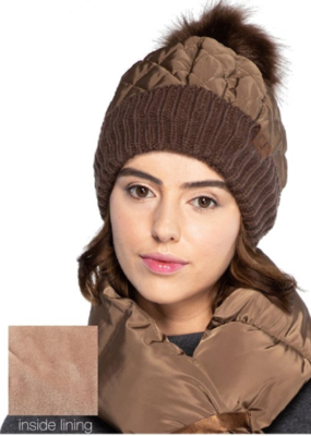 QUILTED PUFFER BEANIE-FINAL SALE ITEM
