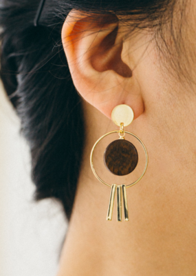 TRIFECTA WOODEN EARRINGS-FINAL SALE ITEM