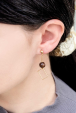GEO WOOD DROP EARRINGS