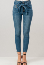 HIGH RISE TIE FRONT SKINNY DENIM