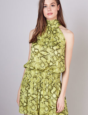 Atikshop Animal Print Tie Back Dress