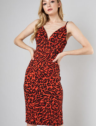 Deep V-neck Leopard Dress