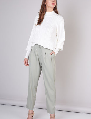 High Waist Belted Trouser