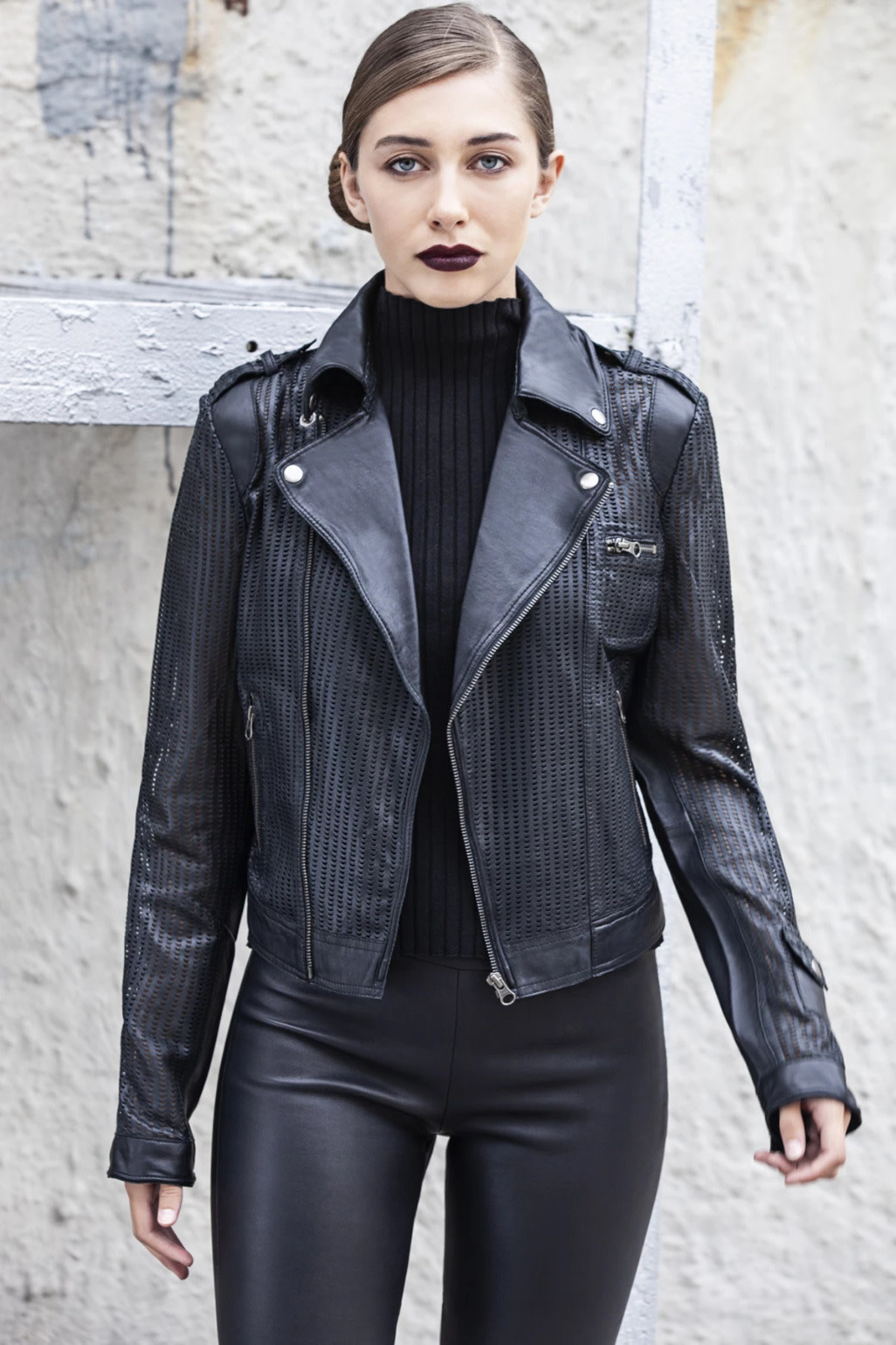 Josey Perf-Marled Leather Jacket
