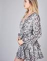 Atikshop Belted Animal Print Ruffle Dress