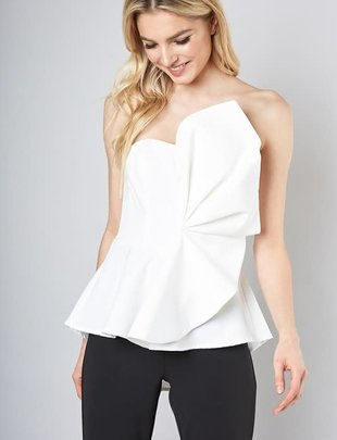 Atikshop Strapless Ruffle Accented Top