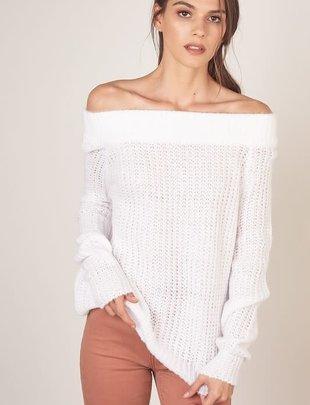 Atikshop Off Shoulder Knit Sweater
