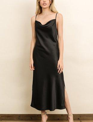 Atikshop Lace Cowl Neck Maxi Dress
