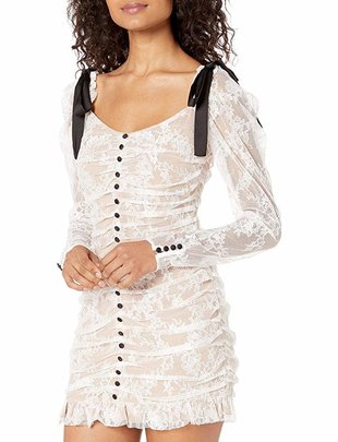 For Love & Lemons Beverly Pleated Mini Dress
