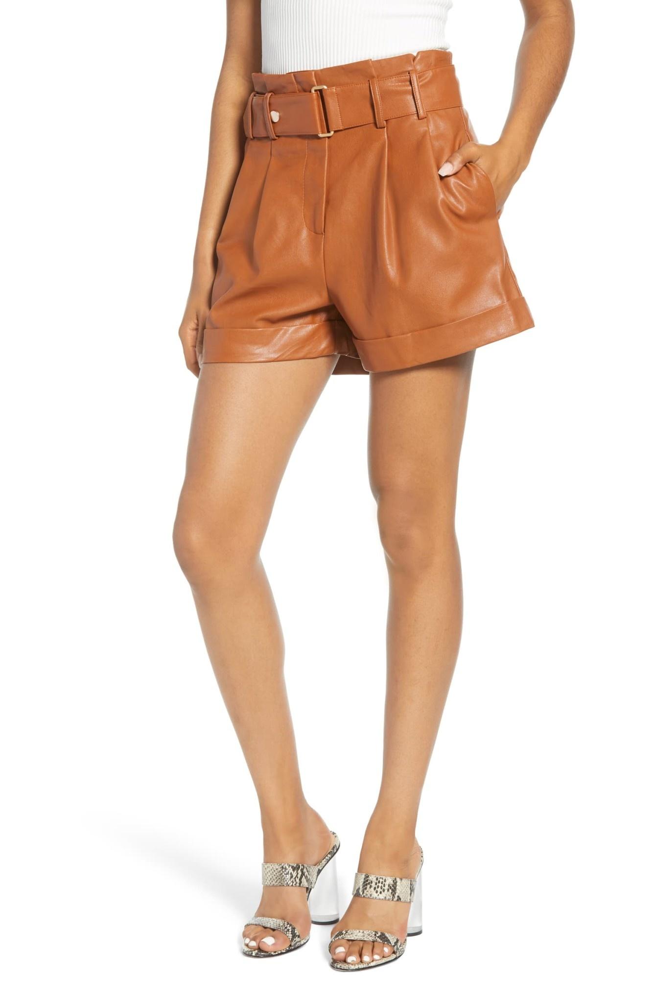 J.O.A Leather paper Bag Shorts