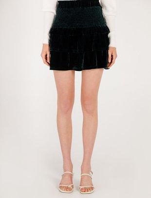 Moodie Velvet Smocked Mini Skirt