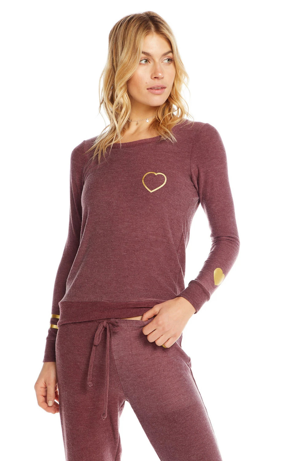 Chaser Gold Heart Knit Pullover
