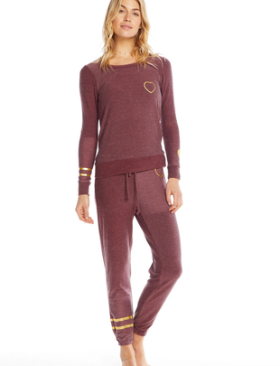 Chaser Gold Heart Knit Lounge Pant