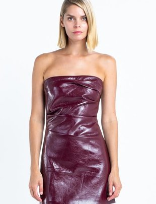 Seek The Label Rouched Faux Leather Mini Dress